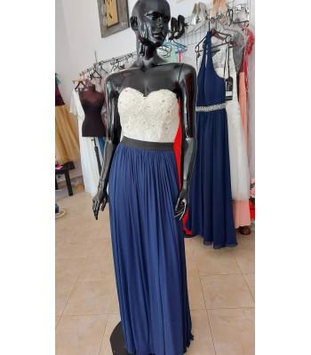 официална рокля в индиго и слонова кост
