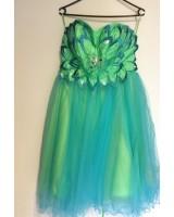 абитуриентска рокля в ментова гама със сияеща декорация в макси размери