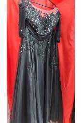 луксозна официална рокля в микс от френска и брюкселска дантела
