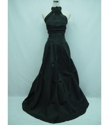 изискана вечерна рокля с яка в черно