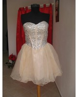 абитуриентска бална рокля тип балерина с деко бижута в 5 гами стил Селена Гомез