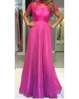 прекрасна цикламена рокля с къс ръкав подходяща за всяко официално тържество