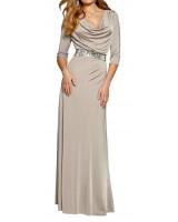 стилна маркова рокля в капучино