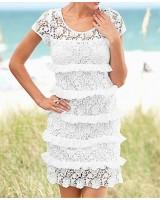 лятна романтична рокля в бяло S-XL