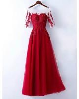 червена бална рокля от тюл и дантела колекция 2019