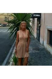официална рокля с V-образно деколте и гръб