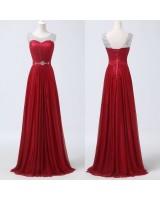 вечерна официална рокля в бордо на връзки