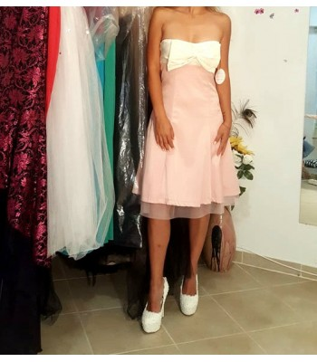 коктейлна елегантна маркова рокля в нежнa гамa