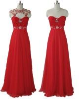 креативна бална рокля с прикрепяща се орнаментация в алено червено