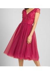 ретро официална рокля в луксозен микс от тюл и дантела