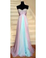 изящна елегантна рокля тип водопад с преливащи цветове