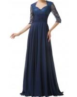 официална рокля в тъмно - синя гама с дантелени ръкави