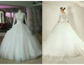 екстравагантна булчинска рокля с дантела и дълъг ръкав лимитирана серия