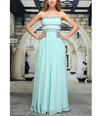 бална рокля с кристали в небесно - син цвят