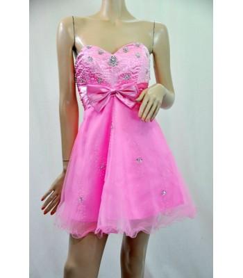 къса маркова бална рокля в бонбонено розово