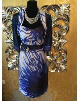 луксозен костюм в преливащо се синьо от рокля с болеро