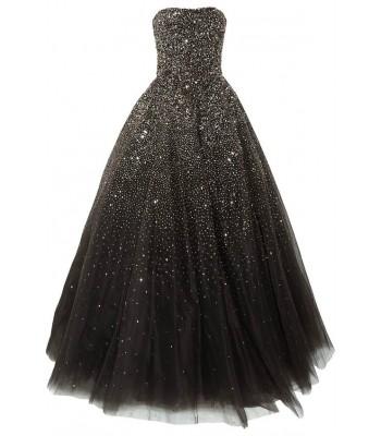 сияеща черна рокля с много обем 2017