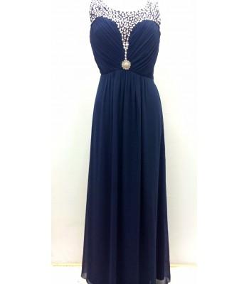 забележителна вечерна рокля в нощно синьо