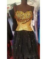 бална рокля златно и черно сияеща с декоративни кристали