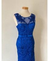 дантелена бална рокля тип русалка в кралско синьо 2021