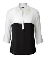 стилна бизнес блуза в черно и бяло - класика