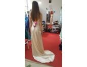 луксозна рокля с декоративни кристали с шлейф в шампанско 2016