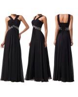 семпла официална рокля в черно на връзки