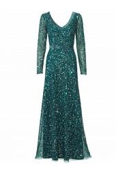 официална рокля в смарагдово зелено обсипана с пайети и дълъг ръкав