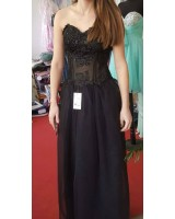 официална рокля тип корсет с полупрозразен дизайн и дантела