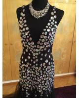 висококачествена официална рокля обсипана с декоративни кристали ултра блясък