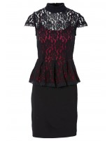 официална дамска рокля в дантелен микс от черно и червено