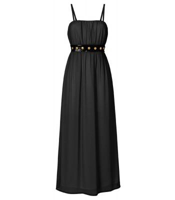 коктейлна рокля в черно с тънки презрамки