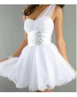 официална рокля в изчистено бяла гама с едно рамо хит 2017