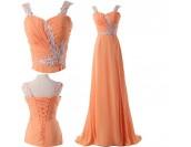 ефектна бална рокля в портокалова гама