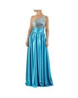 небесно - синя рокля с пайети и дизайн с едно рамо