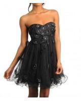 къса бална рокля висша мода в черно