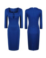 стилна бизнес рокля в наситено синьо