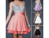къса сияеща бална рокля в 4 различни гами
