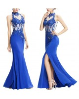 официална рокля с дантелена яка в кралско синьо 2018