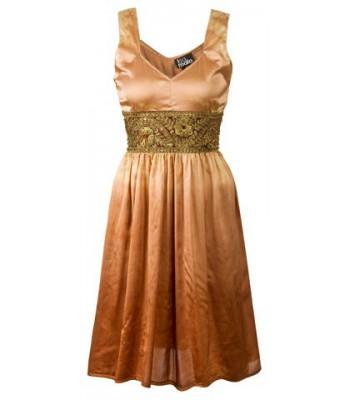 маркова вечерна официална рокля в стилен бронзов цвят