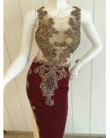 луксозна официална рокля в шампанско и бордо