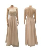 висококачествена бална сватбена рокля в шампанско с полугол гръб