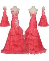 красива абитуриентска рокля тип русалка 2019 в цвят диня
