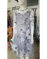 официална рокля от органза с цветя в сив металик