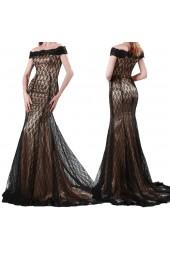 официална рокля с дантела и голи рамене в микс от златисто и черно