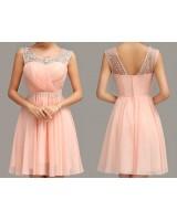 абитуриентска рокля в бонбонено - розова гама с блестящи камъчета