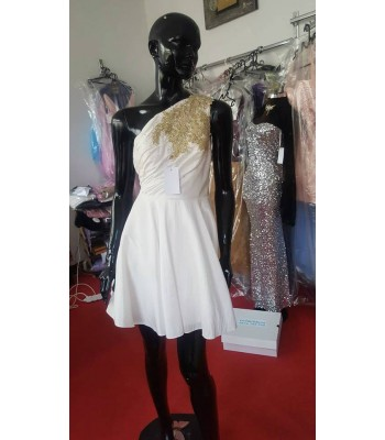 луксозна рокля от тафта с едно рамо и златиста бродерия