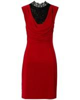 бизнес рокля в червено с черна дантела