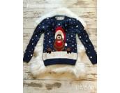 топъл дълъг коледен пуловер с коледно еленче christmas jumper