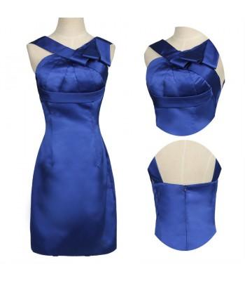 сатенена вечерна абитуриентска рокля в наситено синьо